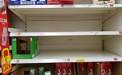 © Licensed to London News Pictures. 06/01/2021. London, UK. Empty shelves of whole UHT milk in Sainsbury's supermarket in north London as the store runs low on certain items, following the national lockdown. Prime Minister Boris Johnson announced on Monday 4 January 2021 that England will go into third national lockdown after the mutated variant of the SARS-Cov-2 virus continues to spread around the country, and asked everyone to 'stay at home' and only leave for the specific reasons, until mid-February. <br /> Photo credit: Dinendra Haria/LNP
