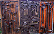 Display of antique spanners and tools at Power of the Past event, Wantisden, Suffolk, England, UK c 2001