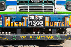 Night Hunter truck at a gas stop while on Motorcycle Sherpa's Ride to the Heavens motorcycle adventure in the Himalayas of Nepal. Riding from Chitwan to Daman. Tuesday, November 12, 2019. Photography ©2019 Michael Lichter.