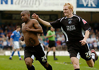 Photo: Glyn Thomas.<br />Chesterfield v Swansea City. Coca Cola League 1. 06/05/2006.<br />Swansea's Leon Knight (L) celebrates after giving his team a 1-0 lead.