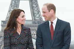 Catherine ( Kate Middleton ), Duchess of Cambridge and Prince William, Duke of Cambridge pose at the Trocadero in front of the Eiffel tower during an official two-day visit to Paris on March 18, 2017 in Paris, France. Their Royal Highnesses met local school children and students from the British Council's Somme project and young learners programmes, as well as young French rugby fans ahead of the RBS Six Nations match that afternoon. Photo by Pool/ABACAPRESS.COM