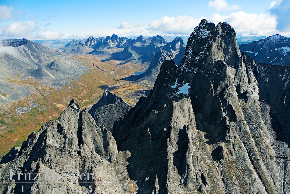 Aerial view of Tombstone Mountain and valley, Tombstone Park, Yukon