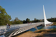 Sundial Pedestrian Bridge at Turtle Bay over the Sacramento River in Redding, California. Designed by Santiago Calatrava and completed in 2004