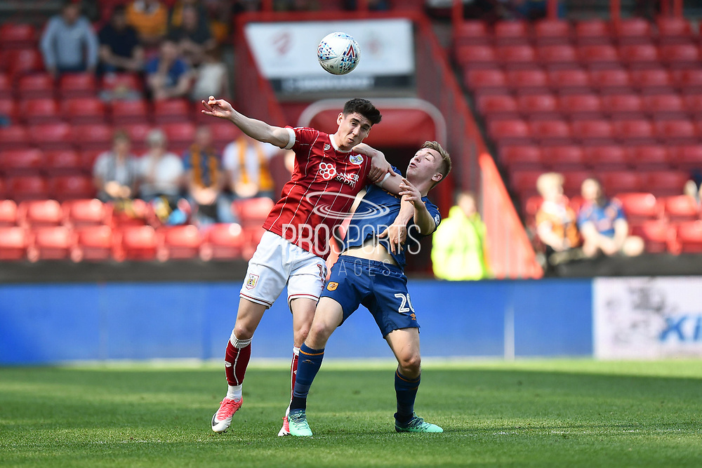 Callum O'Dowda (11) of Bristol City battles for possession with Jarrod Bowen (20) of Hull City during the EFL Sky Bet Championship match between Bristol City and Hull City at Ashton Gate, Bristol, England on 21 April 2018. Picture by Graham Hunt.