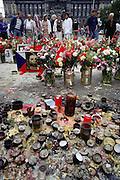 Wenceslas Square. Velvet Revolution memorial. Prague, Czech Republic.