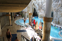 November 11, 2016 - Miskolc, Hungary - People walk and swim in kind of canals made in the caves and enjoy hot therapeutic water at the Cave bath of Miskolctapolca in Miskolc, Hungary, on 11 November 2016. The Cave bath of Miskolctapolca is unique in Europe, the baths with hot termal water, made in natural caves. (Credit Image: © Michal Fludra/NurPhoto via ZUMA Press)