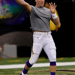 September 9, 2010; New Orleans, LA, USA;  Minnesota Vikings quarterback Brett Favre during warm ups prior to the NFL Kickoff season opener between the Minnesota Vikings and the New Orleans Saints at the Louisiana Superdome. Mandatory Credit: Derick E. Hingle