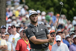 August 9, 2018 - Town And Country, Missouri, U.S - JON RAHM from Spain watches his tee shot from hole number 6 during round one of the 100th PGA Championship on Thursday, August 8, 2018, held at Bellerive Country Club in Town and Country, MO (Photo credit Richard Ulreich / ZUMA Press) (Credit Image: © Richard Ulreich via ZUMA Wire)