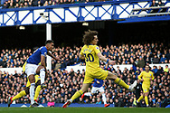 Everton forward Dominic Calvert-Lewin (29) shoots at goal during the Premier League match between Everton and Chelsea at Goodison Park, Liverpool, England on 17 March 2019.