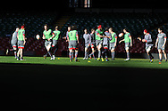 a general view of Wales team training during the Wales rugby team captains run at the Millennium Stadium, Cardiff, South Wales on Thursday 20th Feb 2014. pic by Andrew Orchard, Andrew Orchard sports photography.