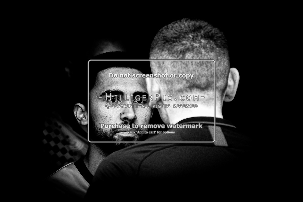 BROMLEY, UK - SEPTEMBER 22: Barney Williams, of Cray Wanderers FC, talks to the referee in the tunnel before the Emirates FA Cup Second Round Qualifier match between Cray Wanderers and Soham Town Rangers at Hayes Lane on September 22, 2019 in Bromley, UK. <br /> (Photo: Jon Hilliger)