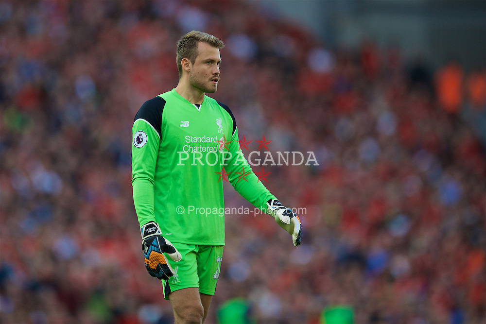 LIVERPOOL, ENGLAND - Saturday, September 10, 2016: Liverpool's goalkeeper Simon Mignolet in action against Leicester City during the FA Premier League match at Anfield. (Pic by David Rawcliffe/Propaganda)