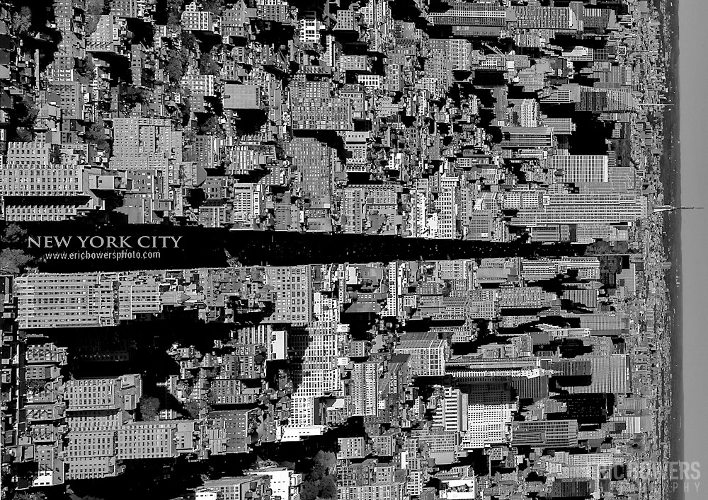Aerial shot above 5th Avenue, with this copy of the photo intentionally flipped clockwise and cropped to emphasize the 5th Avenue urban canyon.