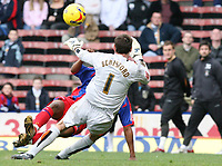 Photo: Alex Pelaez.<br /> Crystal Palace v Luton Town. Coca Cola Championship. 24/02/2007.<br /> Beresford of Luton tries to save a shot from Morrison of Palace