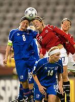 Fotball<br /> EM kvinner 2009<br /> Lahti 27.08.2009<br /> Island v Norge<br /> Foto: Jussi eskola, Digitalsport<br /> NORWAY ONLY<br /> <br /> Maren Mjelde and Katrin Jonsdottir