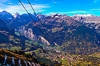 The Mannlichen cable car in the Swiss Alps above Wengen, Canton Bern, Switzerland