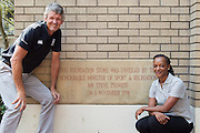 (l-r) Morne du Plessis (outgoing Managing Director of the SSISA), Dr Phathokuhle Zondi (incoming Managing Director of the Sports Science Institute of SA (SSISA)). Image by Greg Beadle