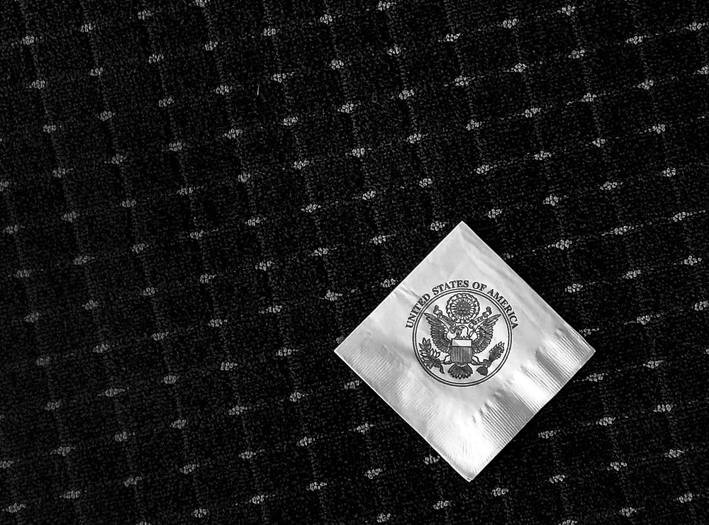 A napkin is seen on the floor in a reception room at Joint Base Andrews, outside Washington, DC.