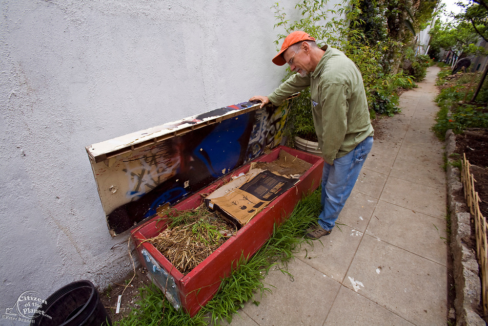 From 2008. Worm composter. Started in 1993, LA Eco-Village demonstrates the processes for creating a healthy neighborhood ecologically, socially and economically and to reduce environmental impacts while raising the quality of neighborhood life.