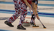 """Glasgow. SCOTLAND.  Norway,  """"Sweeping"""",  """"Round Robin"""" Game. Le Gruyère European Curling Championships. 2016 Venue, Braehead  Scotland<br /> Tuesday  22/11/2016<br /> <br /> [Mandatory Credit; Peter Spurrier/Intersport-images]"""