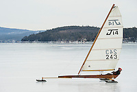 Phil Dolsen from Ohio takes his J14 out on Lake Winnipesaukee from Ames Farm Inn on Monday morning.   (Karen Bobotas/for the Laconia Daily Sun)