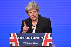 © Licensed to London News Pictures. 03/10/2018. Birmingham, UK. British Prime Minister THERESA MAY delivers her Leaders speech on the fourth and final day of the 2018 Conservative Party conference at the ICC in Birmingham. This years event is focused heavily on Brexit and negotiations with the EU over the UK's exit form the European Union. Photo credit: Ben Cawthra/LNP
