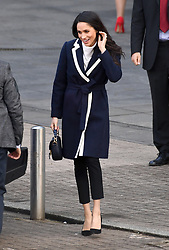 Meghan Markle leaves after taking part in a International Women's Day event during a visit to Millennium Point in Birmingham.