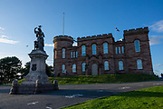 Bronze statue of Flora MacDonald (Gaelic: Fionnghal nic Dhòmhnaill; 1722 –1790), a Scottish Jacobite heroine. The sculpture was designed by Andrew Davidson and erected in 1896. (A live bird atop her head stayed longer than I was able to wait.) The red sandstone Inverness Castle was built in 1836 by architect William Burn on the site of an 11th-century fort, on Castle Hill, also known as Castle Wynd. Today, it houses Inverness Sheriff Court. In April 2017 the north tower of the castle was opened to the public as a view point. Inverness is the administrative capital of the Highlands, in Scotland, United Kingdom, Europe.