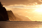 Sunset, Kee Beach, Napali Coast,Kauai, Hawaii
