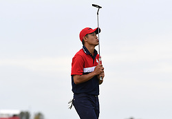 Team USA's Collin Morikawa reacts to his shot on the 16th green during day three of the 43rd Ryder Cup at Whistling Straits, Wisconsin. Picture date: Sunday September 26, 2021.