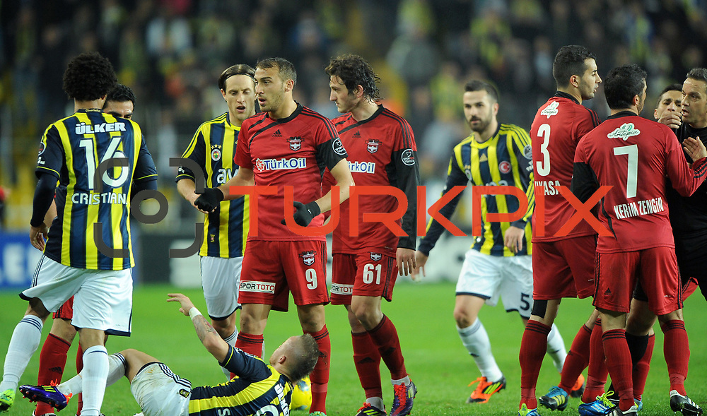 Fenerbahce's and Gaziantepspor's players during their Turkish superleague soccer match Fenerbahce between Gaziantepspor at the Sukru Saracaoglu stadium in Istanbul Turkey on Monday09 January 2011. Photo by TURKPIX