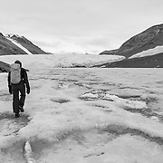 Trekking on Lake Bonney toward the Taylor Glacier. This is the glacier which Scott descended to discover this ice free Dry Valley in 1903.