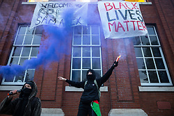 © Licensed to London News Pictures. 10/05/2021. Manchester, UK. Students at the University of Manchester protest in front of the Samuel Alexander building on the university's campus before marching through Manchester City Centre . They are protesting over their living and learning conditions . The occupation of the University's Samuel Alexander building by students continues , as demonstrators say they have been let down over fees and rental charges under Coronavirus , the actions of police and private security on campus and the University's responses to students' concerns , over the last twelve months . Photo credit: Joel Goodman/LNP