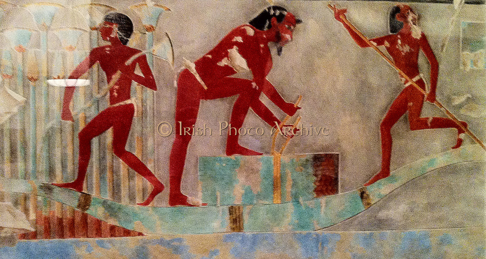 Men Gathering Papyrus, Tomb of Puimre9.  Work by Hugh R. Hopgood (Egyptian Expedition Graphic Section). New Kingdom, 18th Dynasty. Joint reign of Hatshepsut and Thutmose III. ca. 1473–1458 B.C. Tempera on Paper