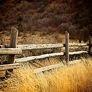 Fence at mouth of Green Canyon east of Logan, Utah Nov. 17, 2010.
