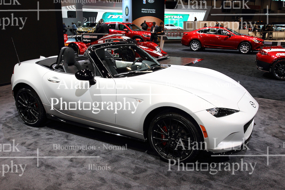 11 February 2016:  2016 Mazda MX-5 Miata.<br /> <br /> First staged in 1901, the Chicago Auto Show is the largest auto show in North America and has been held more times than any other auto exposition on the continent.  It has been  presented by the Chicago Automobile Trade Association (CATA) since 1935.  It is held at McCormick Place, Chicago Illinois<br /> #CAS16