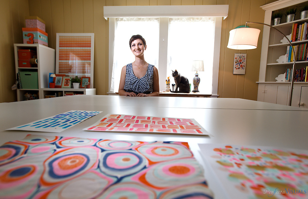 Nadia Hassan at her home studio, , Thursday, April 14, 2014, in Greensboro, N.C. Hassan is a freelance designer and graphic illustrator based in Greensboro, NC. She has a love of patterns that has led her to design artwork for everything from gift bags and phone cases to an entire city street.