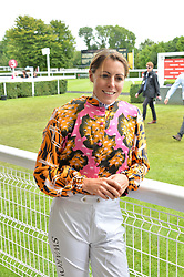 Aly Vance at the Qatar Goodwood Festival, Goodwood, West Sussex England. 3 August 2017.<br /> Photo by Dominic O'Neill/SilverHub 0203 174 1069 sales@silverhubmedia.com