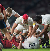 Twickenham, England.  England forwards, left to right, Geoff PARING, James HASKELL, Mako VUNIPOLA, grounded, Rob WEBBER, defending the ball, France's Yoanne MAESTRI, during the QBE International. England vs France [World cup warm up match]  Saturday.  15.08.2015,  [Mandatory Credit. Peter SPURRIER/Intersport Images].