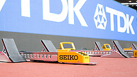 Athletics - 2017 IAAF London World Athletics Championships - Day One<br /> <br /> The Seiko sponsored starting blocks await the opening events at the IAAF World Championships at the London Stadium<br /> <br /> <br /> COLORSPORT/DANIEL BEARHAM