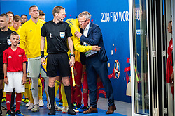 July 7, 2018 - Samara, Russia - 180707 Andreas Granqvist and head coach Janne Andersson of Sweden hugs prior to the FIFA World Cup quarter final match between Sweden and England on July 7, 2018 in Samara..Photo: Petter Arvidson / BILDBYRÃ…N / kod PA / 92083 (Credit Image: © Petter Arvidson/Bildbyran via ZUMA Press)