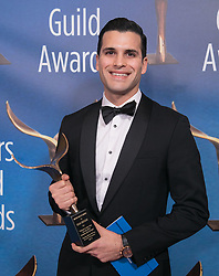 February 17, 2019 - Los Angeles, California, United States of America - Sean Brogan, winner of On-Air Promotion, poses in the press room of the 2019 Writers Guild Awards at the Beverly Hilton Hotel on Sunday February 17, 2019 in Beverly Hills, California. JAVIER ROJAS/PI (Credit Image: © Prensa Internacional via ZUMA Wire)