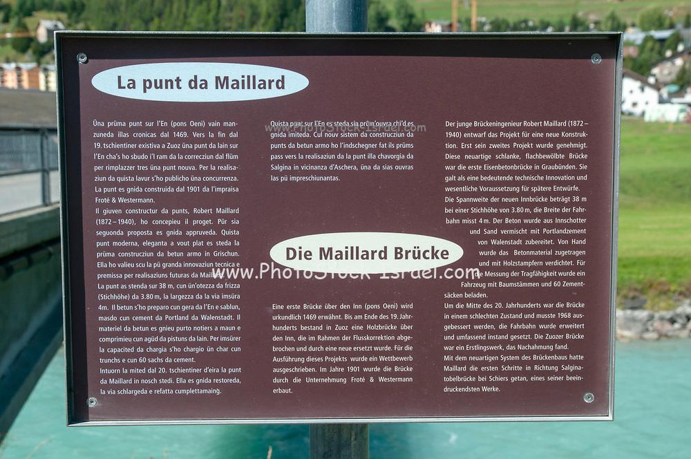 Maillard Bridge over the Inn River was constructed in 1901 by Robert Maillard (1972-1940) in Zuoz on the Inn river, Maloja Region, Graubünden, Switzerland