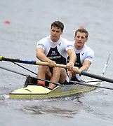 Poznan, POLAND, GBR M2-, Bow,  Robin BOURNE-TAYLOR and Tom SOLESBURY, move away from the start in their morning heat, at the 2008 FISA World Cup. Rowing Regatta. Malta Rowing Course on Friday, 20/06/2008. [Mandatory Credit:  Peter SPURRIER / Intersport Images] Rowing Course:Malta Rowing Course, Poznan, POLAND