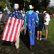 Ryder Cup 2016. Supporters of the United States and Europe at practice day at the Hazeltine National Golf Club on September 29, 2016 in Chaska, Minnesota.  (Photo by Tim Clayton/Corbis via Getty Images)