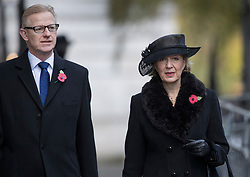 © Licensed to London News Pictures. 12/11/2017. London, UK. Andrea Leadsom walks through Downing Street with her husband Ben Leadsom to attend the Remembrance Sunday Ceremony at the Cenotaph in Whitehall. Photo credit: Peter Macdiarmid/LNP