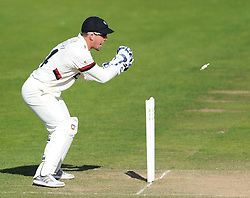 Somerset's Luke Ronchi attempts a stumping.  - Mandatory byline: Alex Davidson/JMP - 07966386802 - 12/09/2015 - CRICKET - The County Ground -Taunton,England - Somerset CCC v Hampshire CCC - Day 4