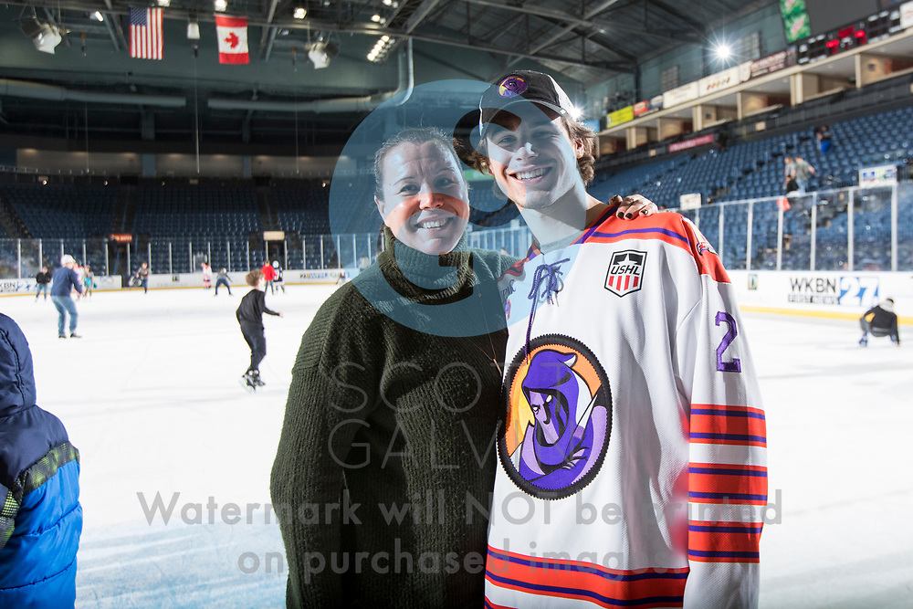 Youngstown Phantoms win 5-3 against the Tri-City Storm at the Covelli Centre on January 18, 2020.<br /> <br /> Aiden Gallacher, defenseman, 2