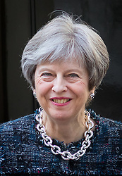 April 26, 2018 - London, London, UK - London, UK. British Prime Minister Theresa May meets President of the Republic of Azerbaijan Ilham Aliyev (not pictured) in Downing Street this afternoon. (Credit Image: © Tom Nicholson/London News Pictures via ZUMA Wire)