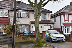 © Licensed to London News Pictures. 09/04/2018. LONDON, UK.  A police car is parked in front of a semi-detached house in Bacon Lane, Edgware, north London, following a suspected carbon monoxide leak and the unexplained deaths of two men, 38 and 42, at the property on Sunday 8 April.  It has been reported that five other people, including two children, were taken to hospital as a precautionary measure and that the occupants of the rented multi-occupancy house moved in just weeks ago.  Photo credit: Stephen Chung/LNP